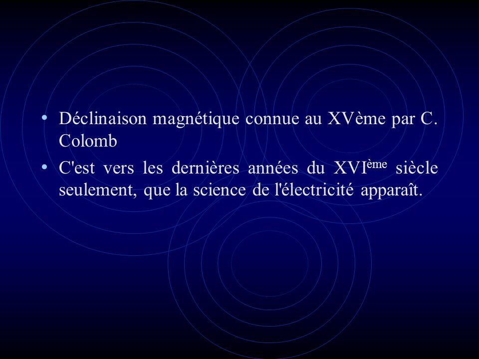 Déclinaison magnétique connue au XVème par C. Colomb