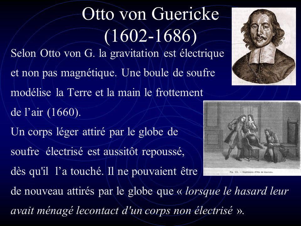Otto von Guericke (1602-1686) Selon Otto von G. la gravitation est électrique. et non pas magnétique. Une boule de soufre.