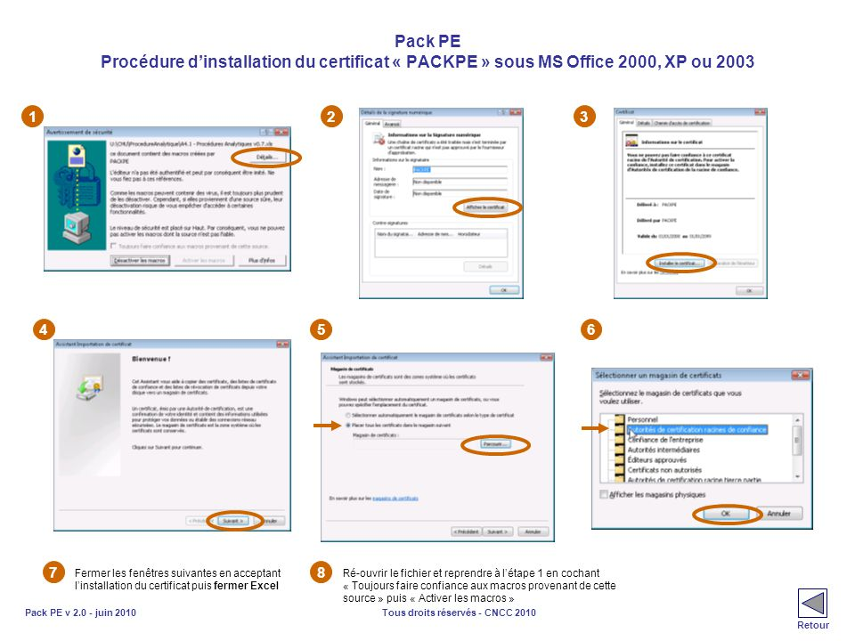 Pack PE Procédure d'installation du certificat « PACKPE » sous MS Office 2000, XP ou 2003