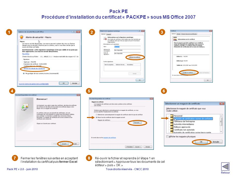 Pack PE Procédure d'installation du certificat « PACKPE » sous MS Office 2007