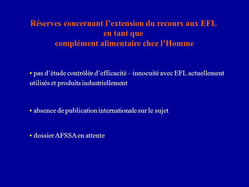 Réserves concernant l'extension du recours aux EFL en tant que