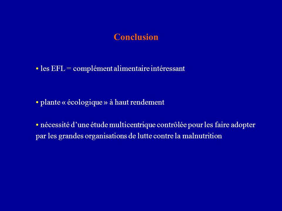 Conclusion les EFL = complément alimentaire intéressant