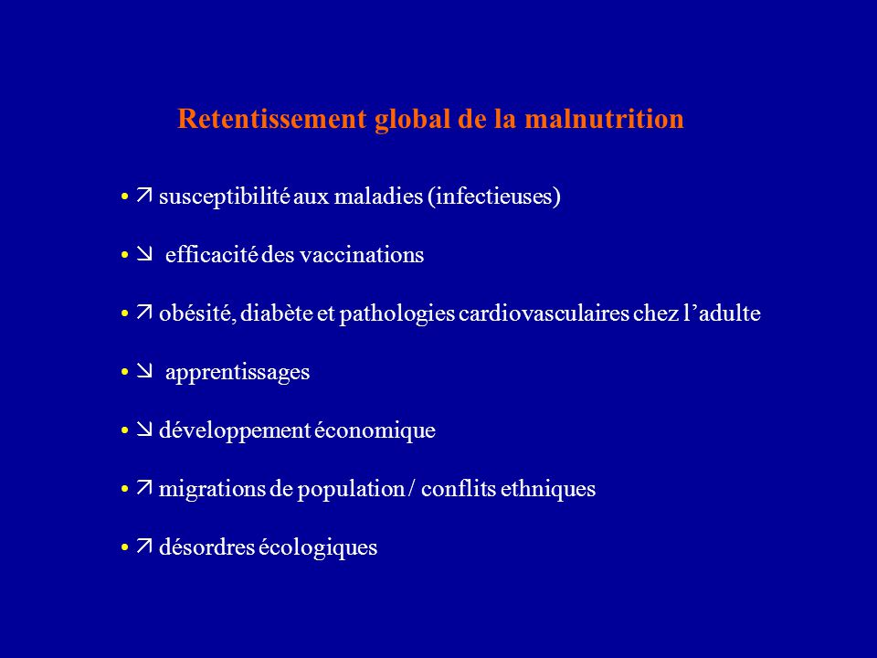 Retentissement global de la malnutrition