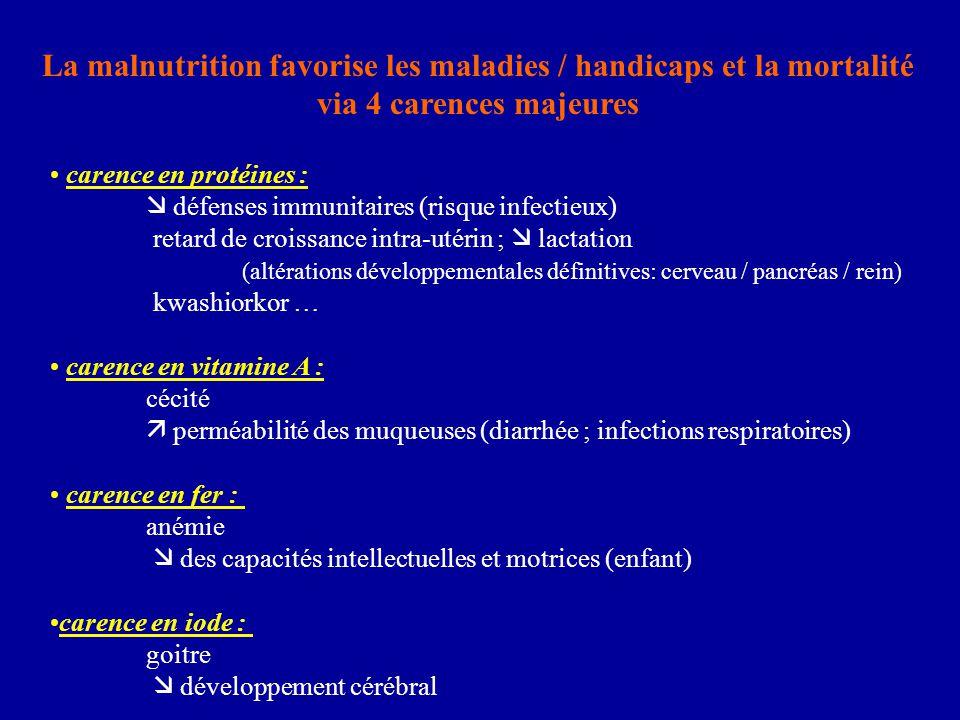 La malnutrition favorise les maladies / handicaps et la mortalité