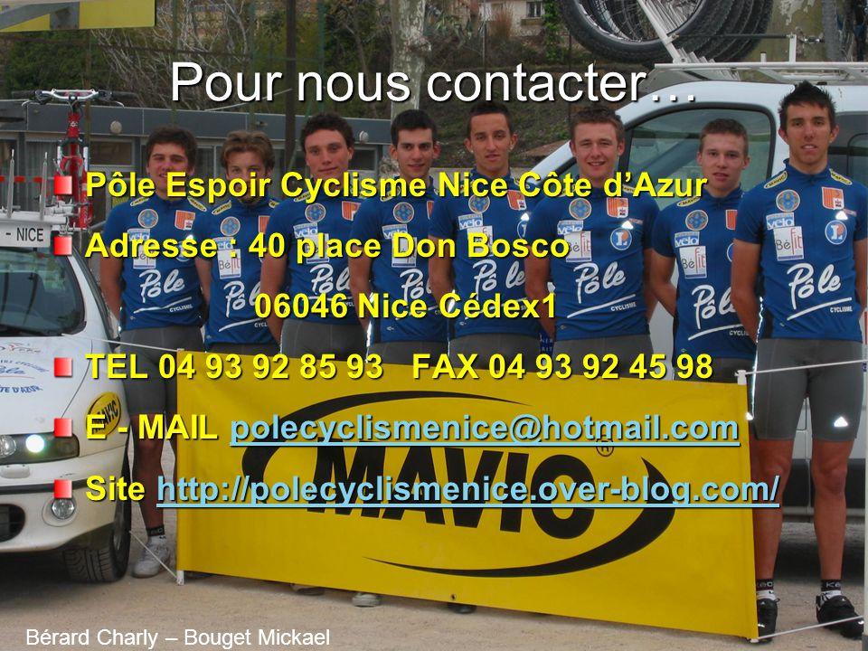 Pour nous contacter… Pôle Espoir Cyclisme Nice Côte d'Azur