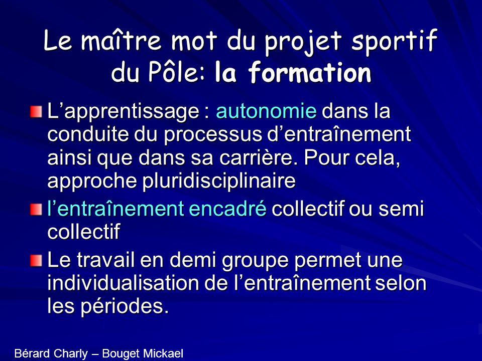 Le maître mot du projet sportif du Pôle: la formation