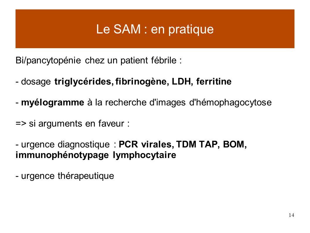 Le SAM : en pratique Bi/pancytopénie chez un patient fébrile :