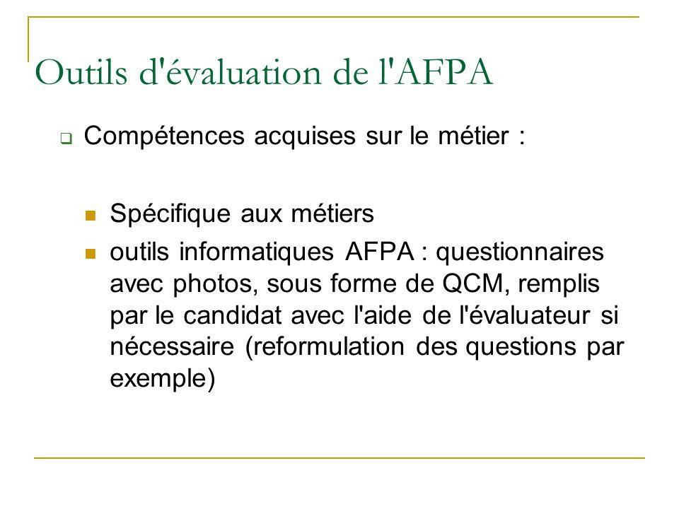 Outils d évaluation de l AFPA