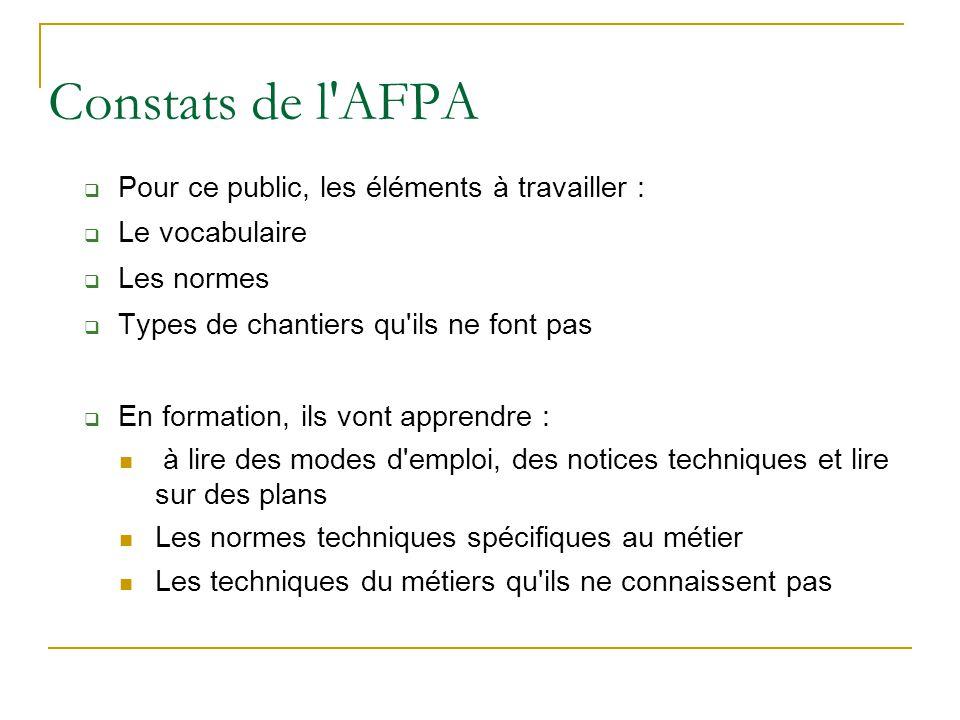 Constats de l AFPA Pour ce public, les éléments à travailler :