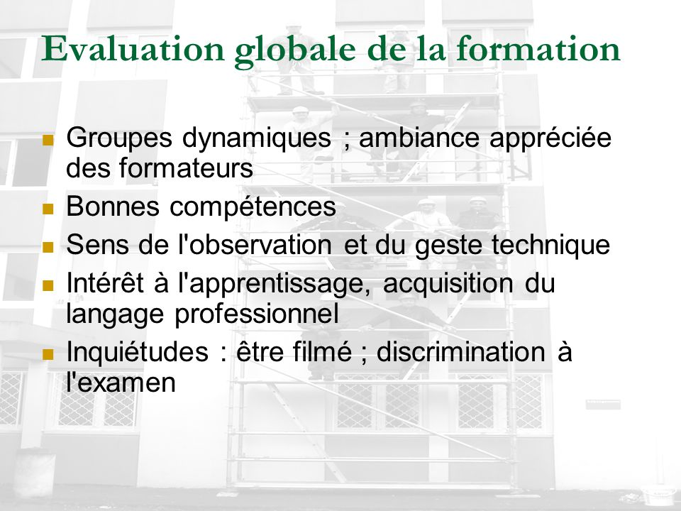 Evaluation globale de la formation