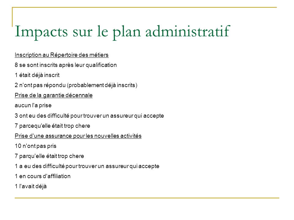 Impacts sur le plan administratif