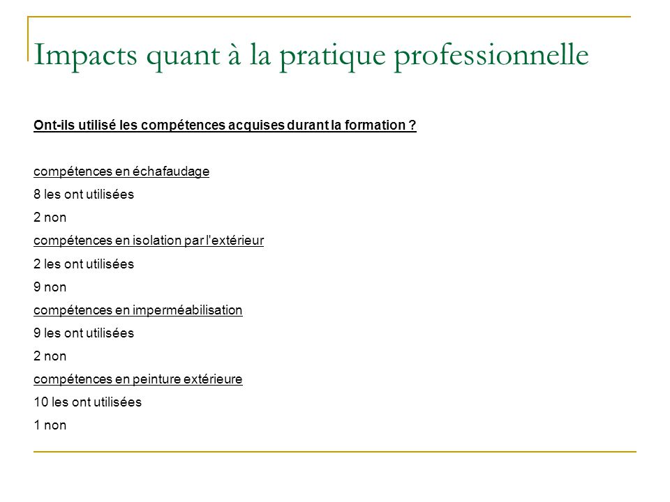 Impacts quant à la pratique professionnelle