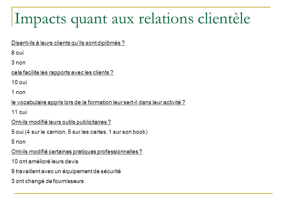 Impacts quant aux relations clientèle