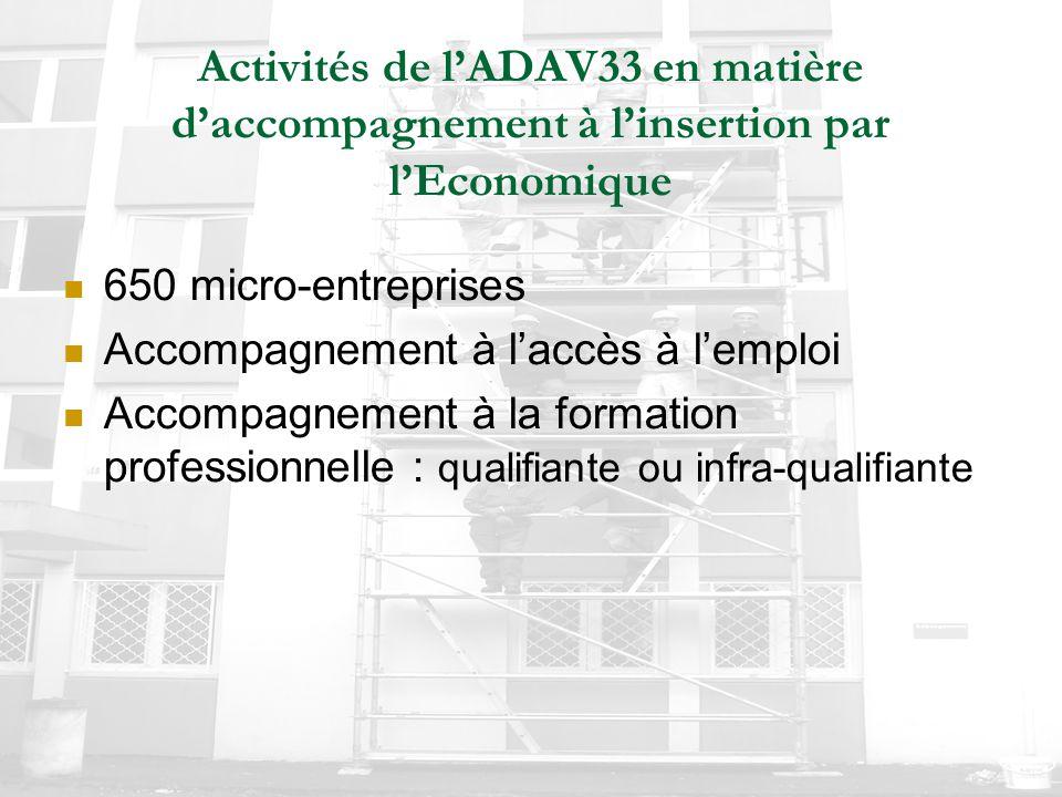 Activités de l'ADAV33 en matière d'accompagnement à l'insertion par l'Economique