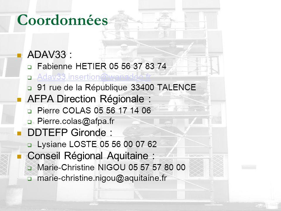 Coordonnées ADAV33 : AFPA Direction Régionale : DDTEFP Gironde :
