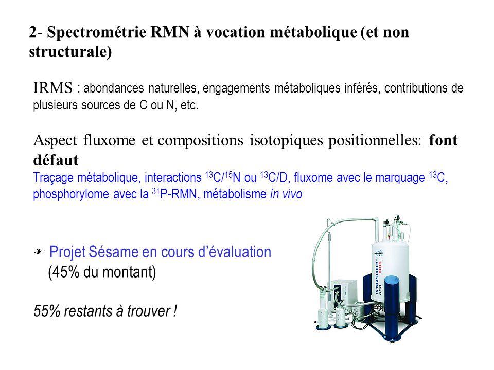 2- Spectrométrie RMN à vocation métabolique (et non structurale)