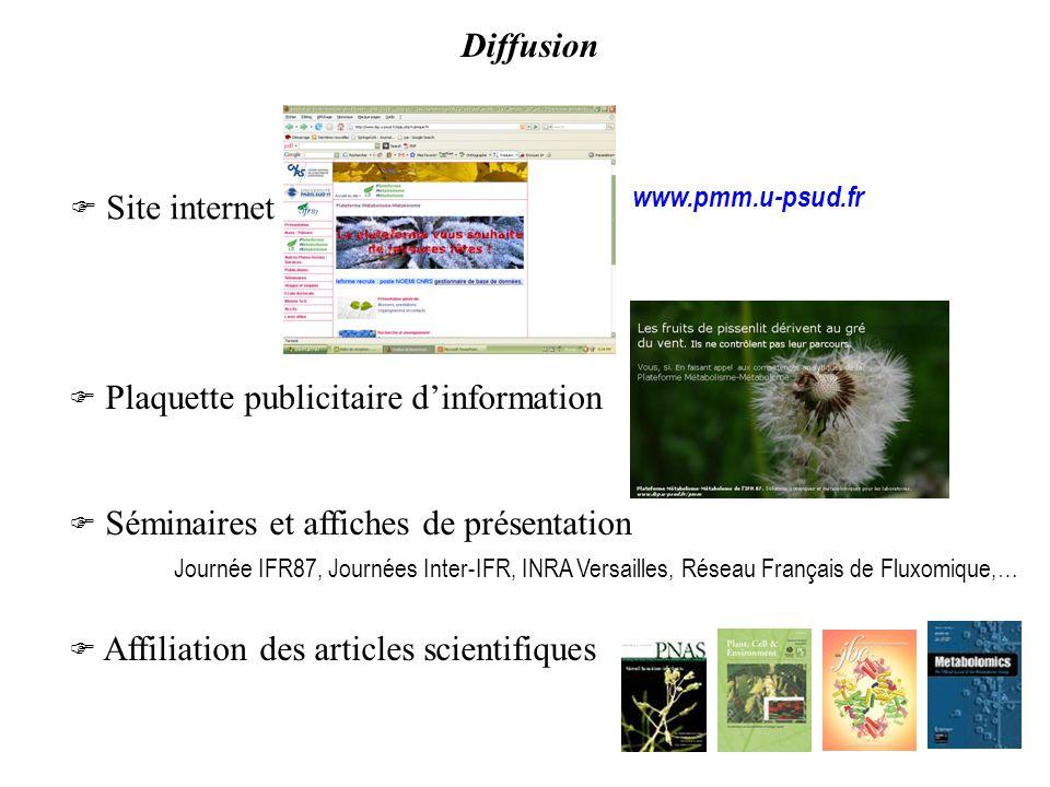 Diffusion  Site internet. www.pmm.u-psud.fr.  Plaquette publicitaire d'information.  Séminaires et affiches de présentation.