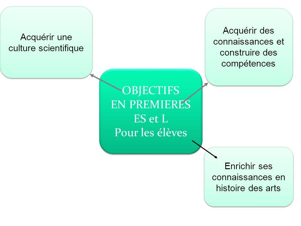 OBJECTIFS EN PREMIERES ES et L Pour les élèves