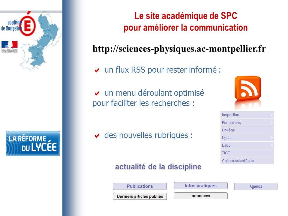 Le site académique de SPC pour améliorer la communication