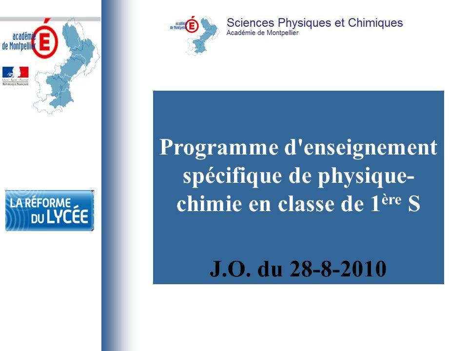 Programme d enseignement spécifique de physique-chimie en classe de 1ère S