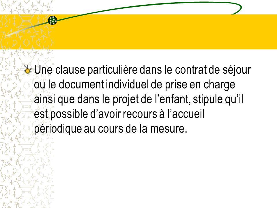 Une clause particulière dans le contrat de séjour ou le document individuel de prise en charge ainsi que dans le projet de l'enfant, stipule qu'il est possible d'avoir recours à l'accueil périodique au cours de la mesure.