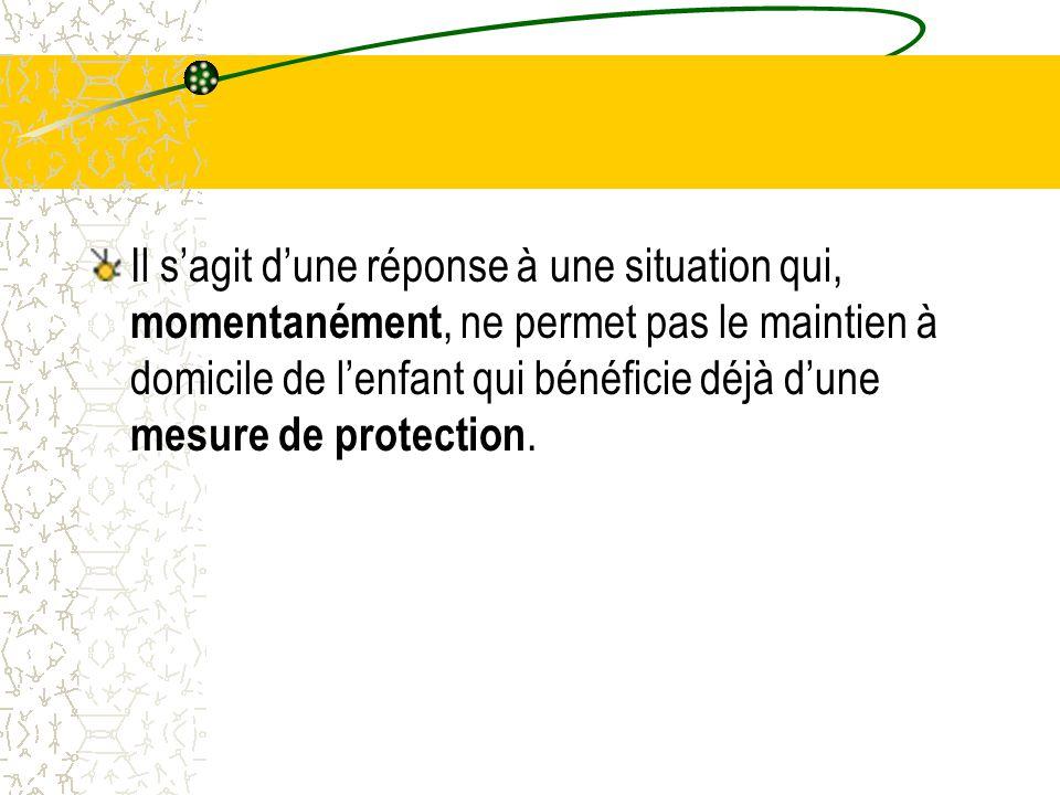 Il s'agit d'une réponse à une situation qui, momentanément, ne permet pas le maintien à domicile de l'enfant qui bénéficie déjà d'une mesure de protection.