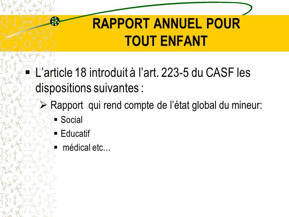 RAPPORT ANNUEL POUR TOUT ENFANT