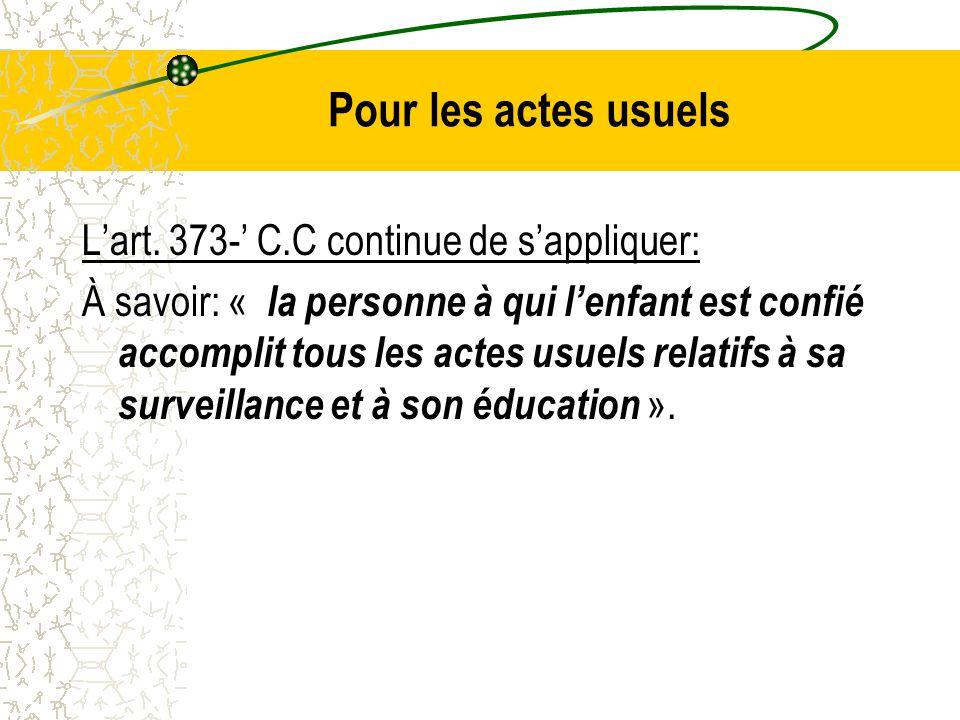 Pour les actes usuels L'art. 373-' C.C continue de s'appliquer: