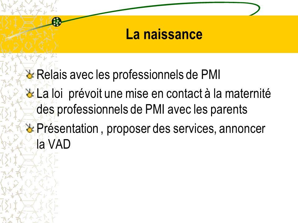 La naissance Relais avec les professionnels de PMI