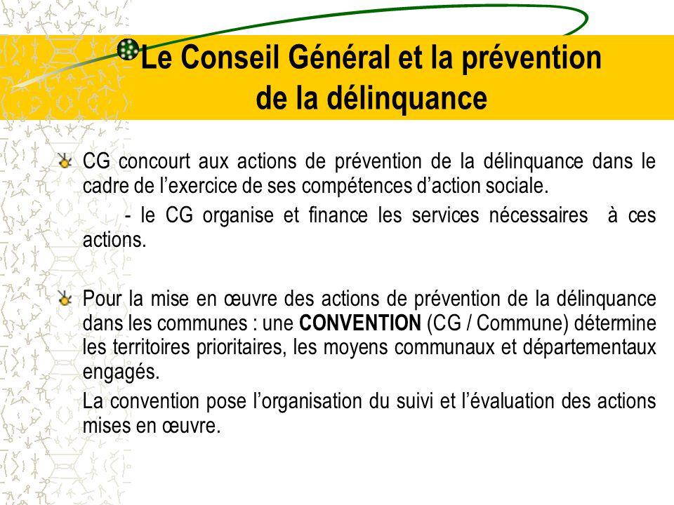 Le Conseil Général et la prévention de la délinquance