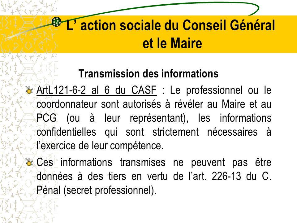 L' action sociale du Conseil Général et le Maire