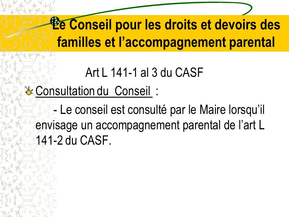 Le Conseil pour les droits et devoirs des familles et l'accompagnement parental