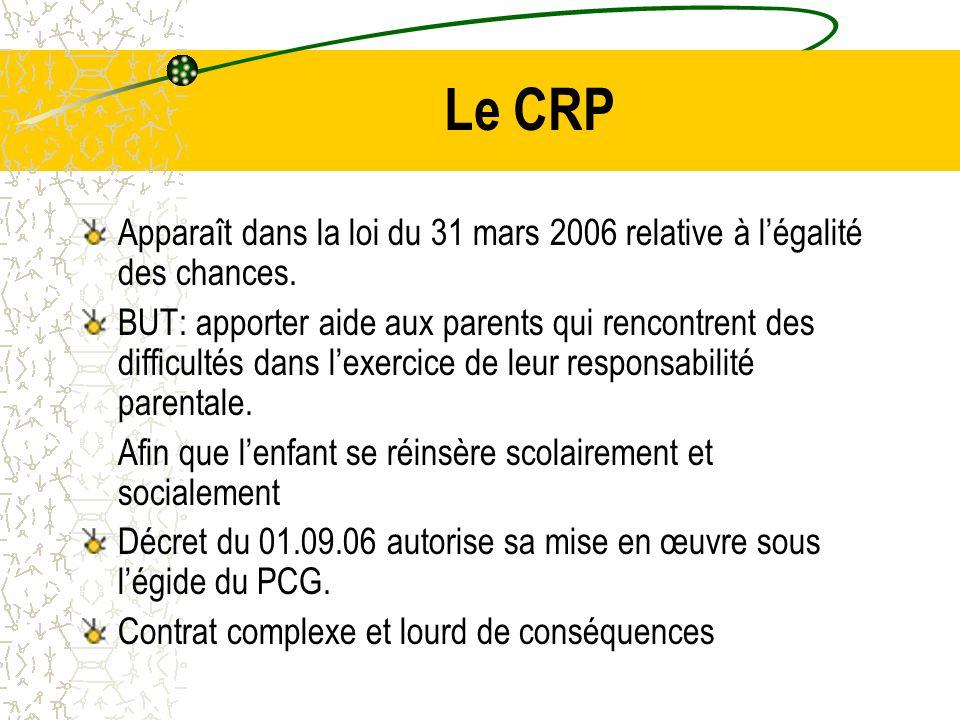 Le CRP Apparaît dans la loi du 31 mars 2006 relative à l'égalité des chances.