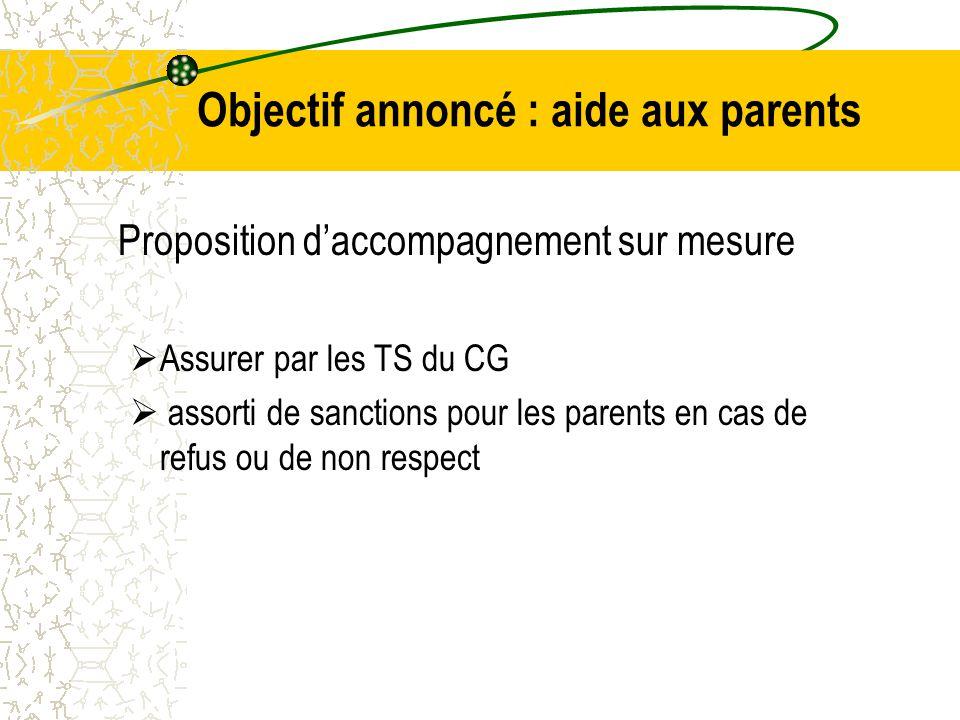 Objectif annoncé : aide aux parents