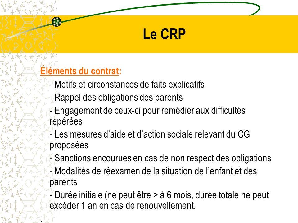Le CRP Éléments du contrat: