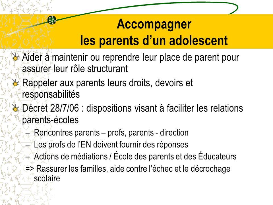 Accompagner les parents d'un adolescent