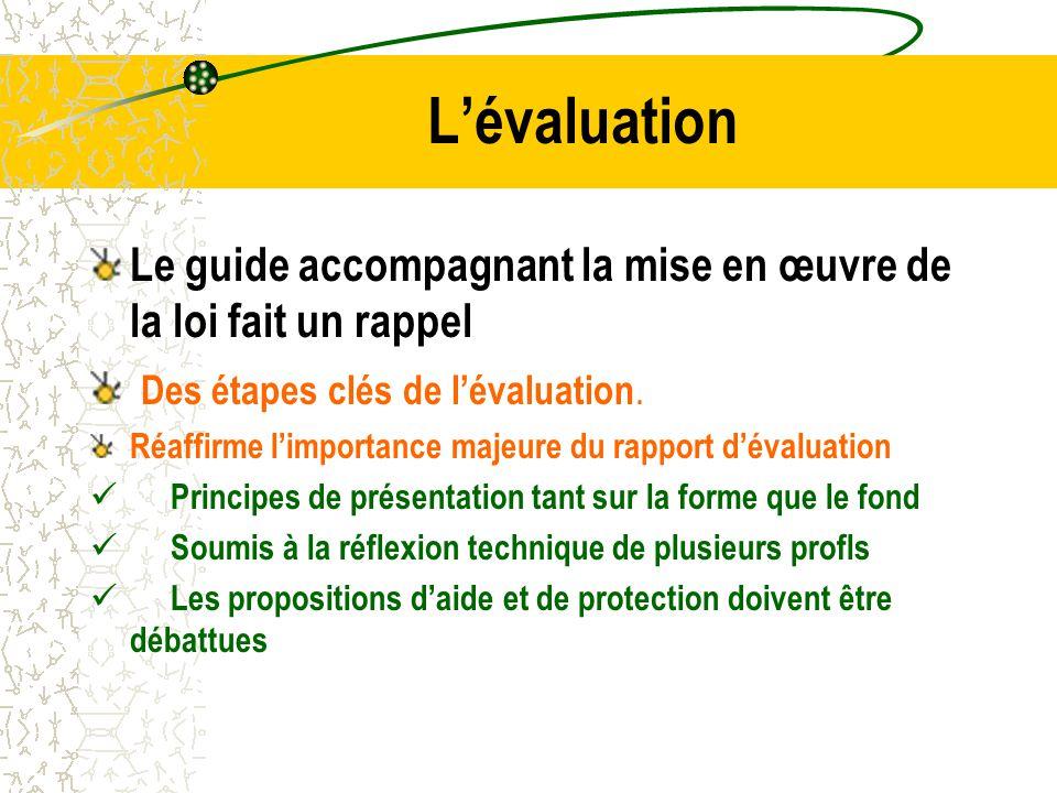 L'évaluation Le guide accompagnant la mise en œuvre de la loi fait un rappel. Des étapes clés de l'évaluation.