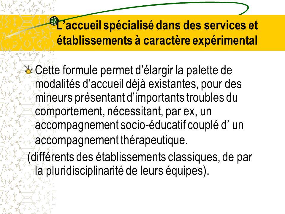 L'accueil spécialisé dans des services et établissements à caractère expérimental
