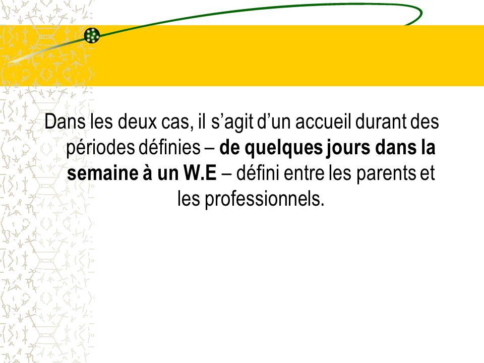Dans les deux cas, il s'agit d'un accueil durant des périodes définies – de quelques jours dans la semaine à un W.E – défini entre les parents et les professionnels.