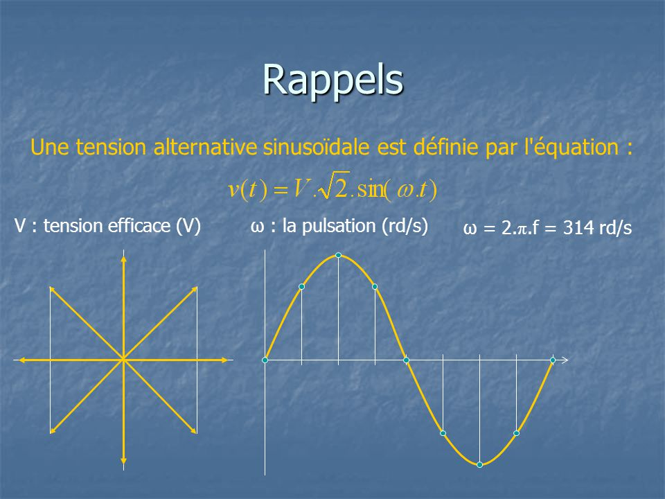 Rappels Une tension alternative sinusoïdale est définie par l équation : V : tension efficace (V) ω : la pulsation (rd/s)