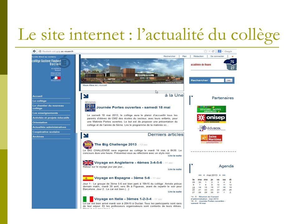 Le site internet : l'actualité du collège