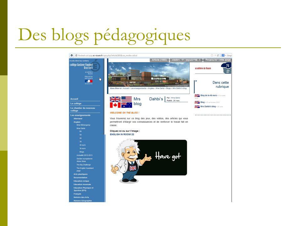 Des blogs pédagogiques