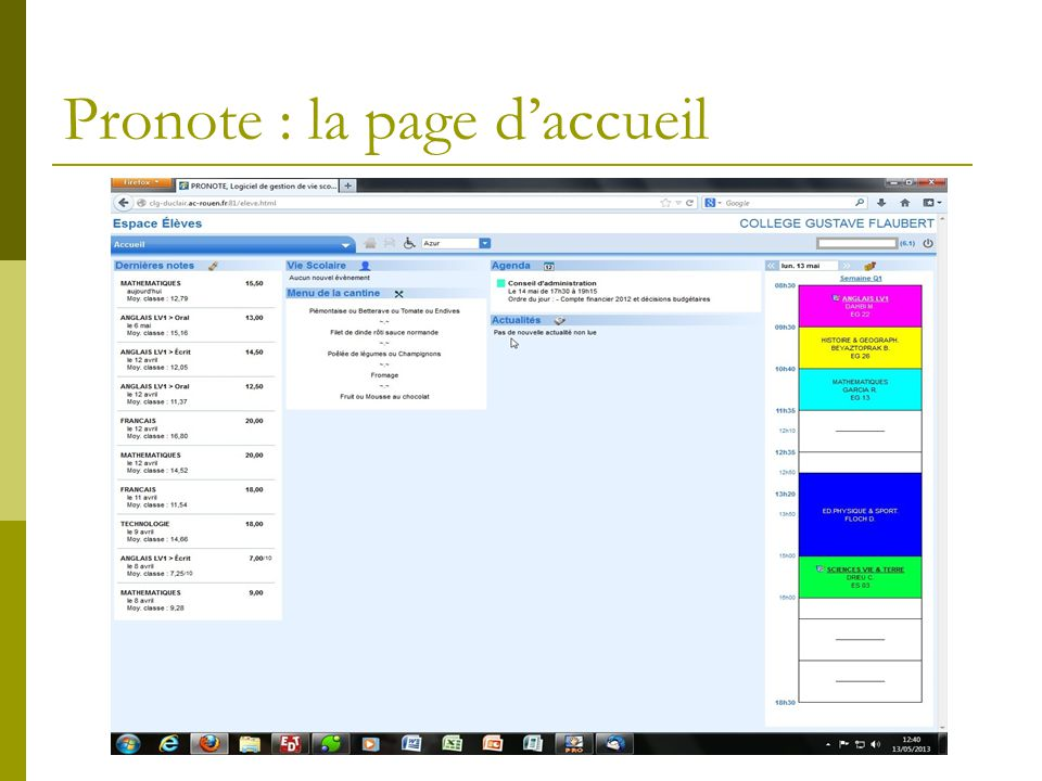 Pronote : la page d'accueil