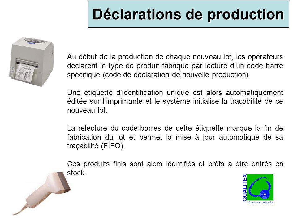 Déclarations de production