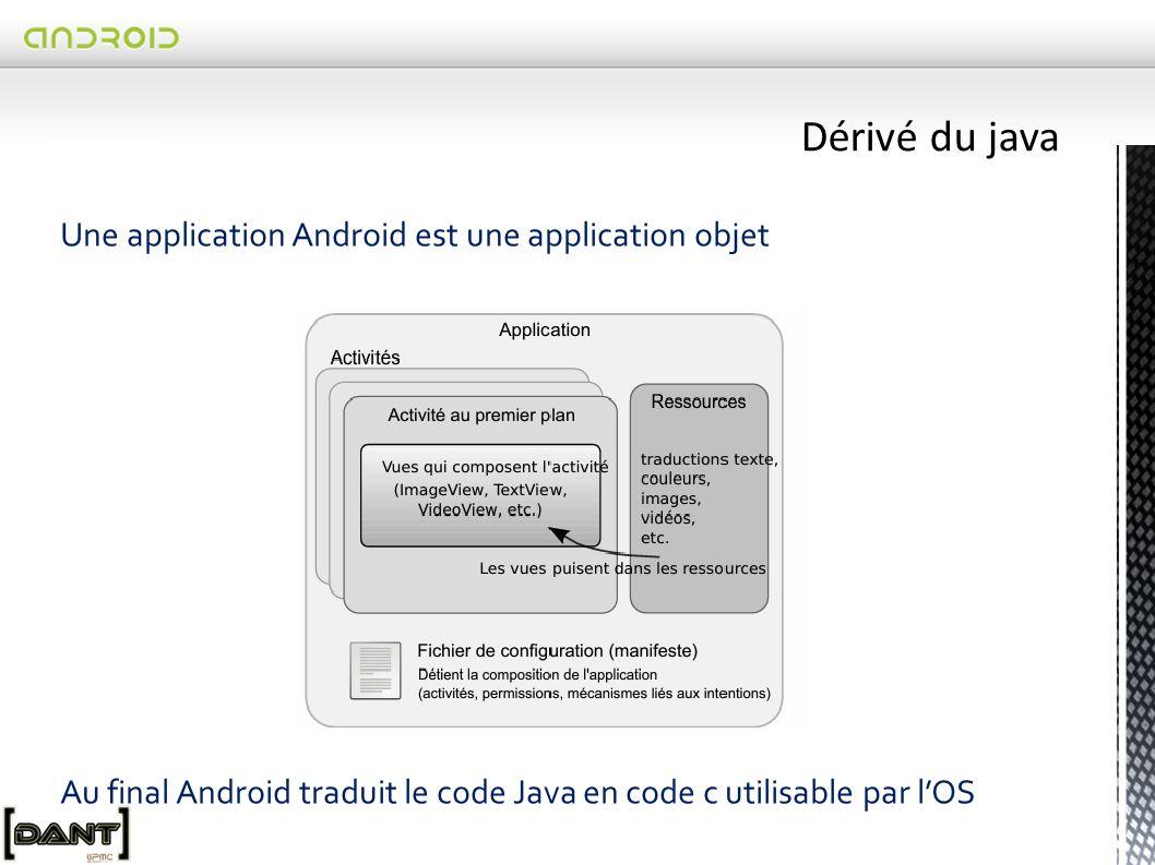 Dérivé du java Une application Android est une application objet