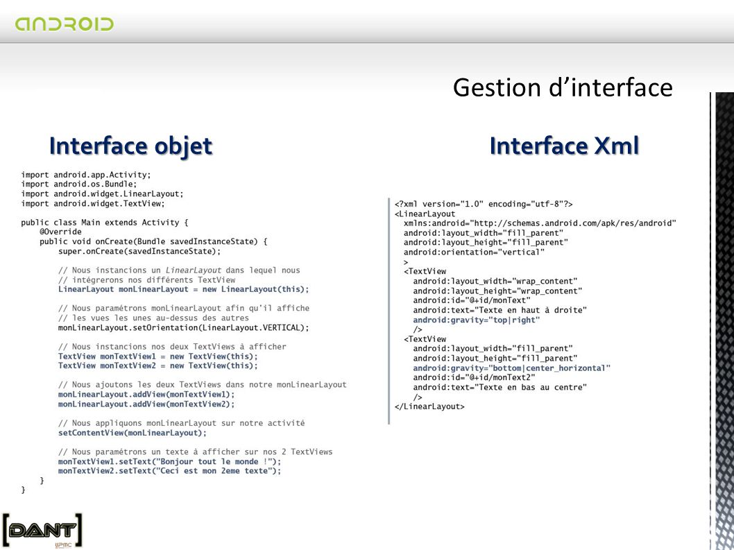 Gestion d'interface Interface objet Interface Xml.