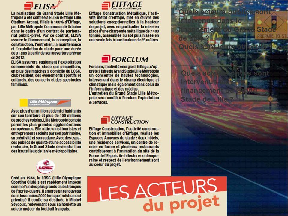Quels acteurs publics sont intervenus dans le financement du Grand Stade de Lille
