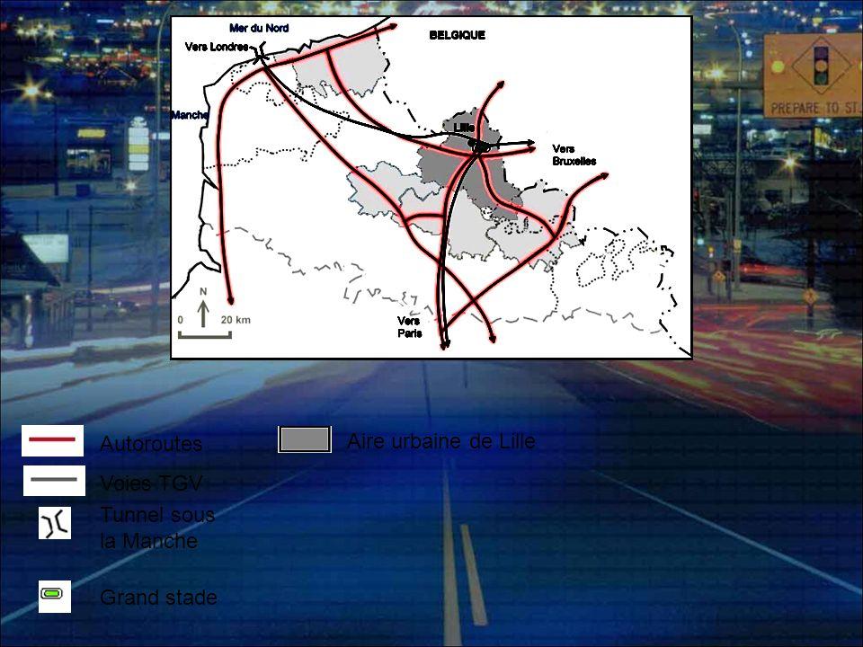 Autoroutes Aire urbaine de Lille Voies TGV Tunnel sous la Manche Grand stade