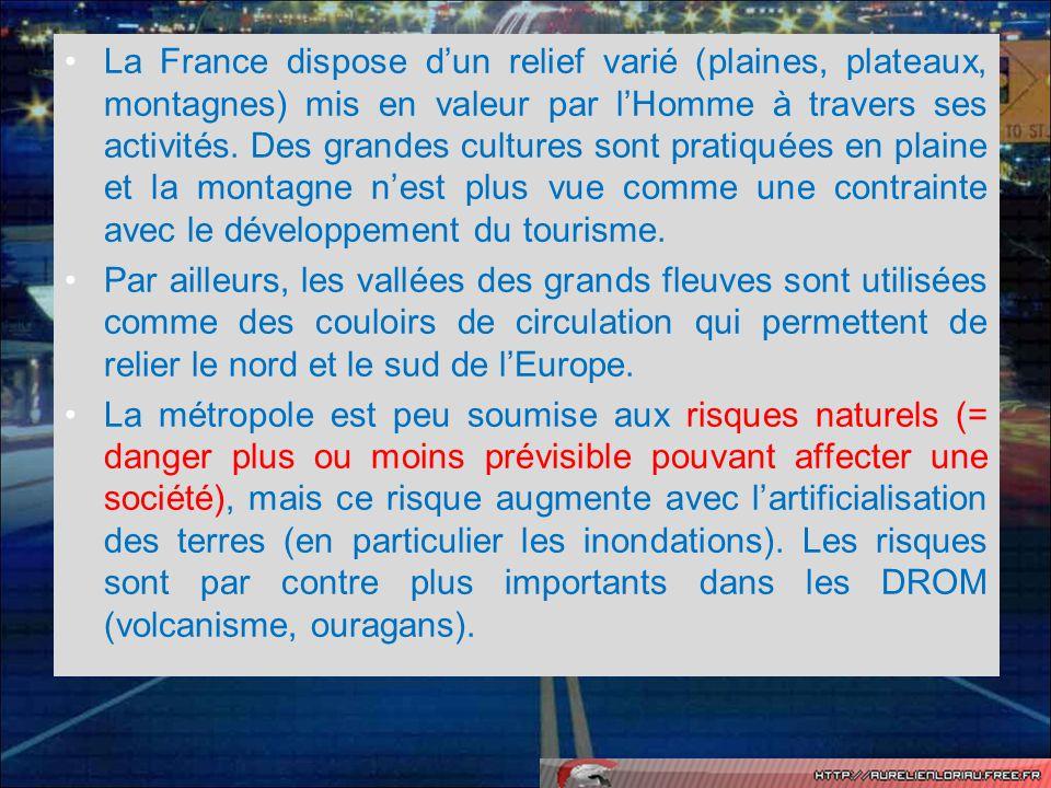La France dispose d'un relief varié (plaines, plateaux, montagnes) mis en valeur par l'Homme à travers ses activités. Des grandes cultures sont pratiquées en plaine et la montagne n'est plus vue comme une contrainte avec le développement du tourisme.