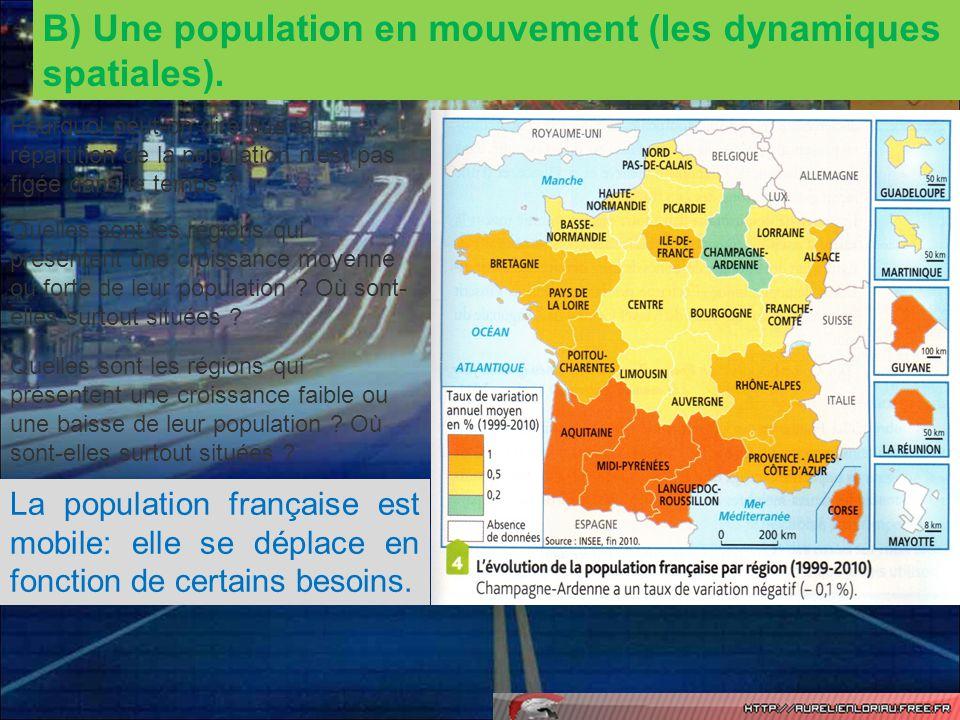 B) Une population en mouvement (les dynamiques spatiales).